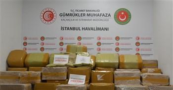 Gümrük Muhafaza Ekiplerinden Ä°stanbul Havalimanında Rekor Uyuşturucu Yakalaması