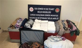 Gümrük Muhafaza Ekipleri Denizli'de Giysilere Emdirilmiş ve Elyaf Yorgana Gizlenmiş Uyuşturucu Ele Geçirdi