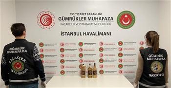 Gümrük Muhafaza Ekipleri İstanbul Havalimanında Alkollü İçki Görünümü Verilmiş Sıvı Kokain Ele Geçirdi