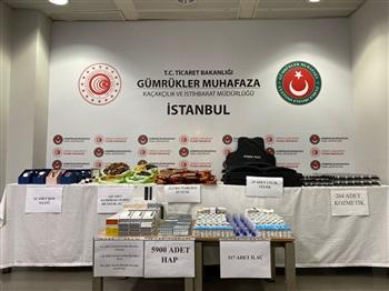 Sabiha Gökçen Havalimanı'nda yaklaşık 1,5 milyon lira değerinde kaçak ürün ele geçirildi