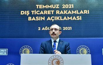 Ticaret Bakanı Mehmet Muş, temmuz ayına ait dış ticaret rakamlarını açıkladı